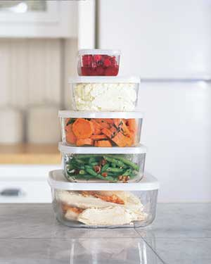 vegetables and turkey in plastic containers