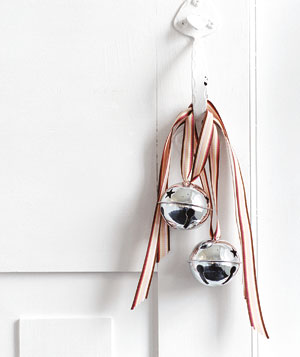 Jingle bells hanging from doorknob