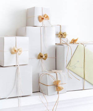 Creative gift wrapping ideas real simple gift boxes with pasta bows negle Choice Image