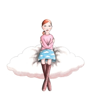 illustration of woman sitting on cloud