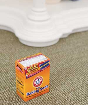 Baking soda on a carpet