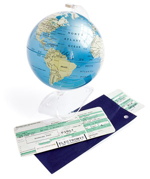 Globe and plane tickets