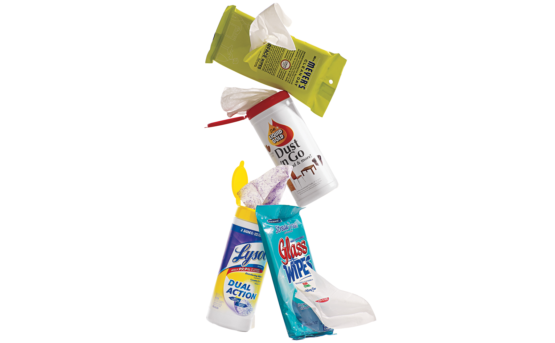 Various packages of cleaning wipes