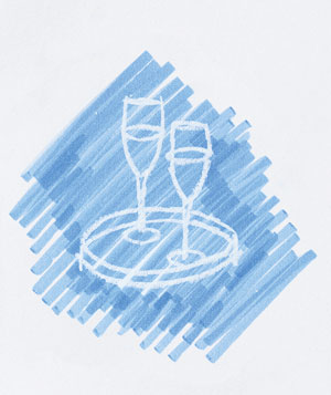Doodle of champagne flute