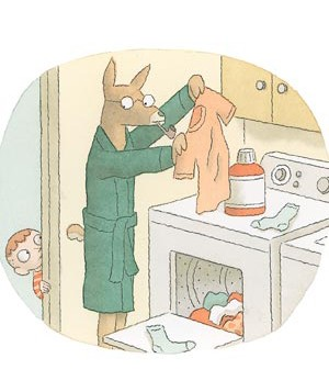 Cartoon deer washing clothes