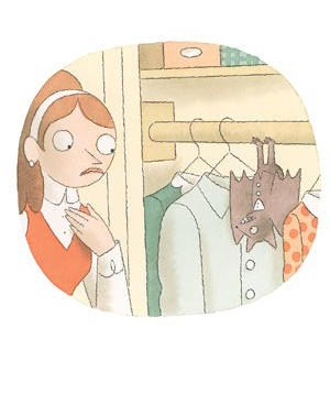 Cartoon girl and a bat in the closet.