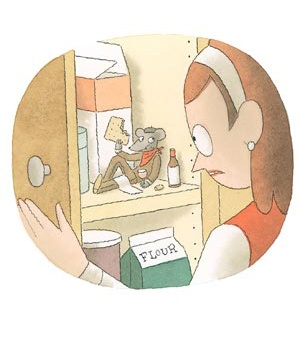 Cartoon mouse in the cabinet and girl.