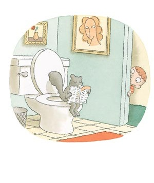 Cartoon squirrel on the toilet