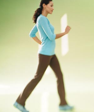 Woman power walking