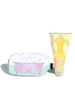 Illustration of bubble bath and body wash