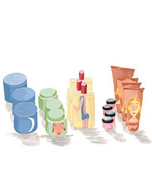 Illustration of jars and tubes of lotion