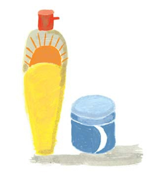 Illustration of a spray bottle and a jar