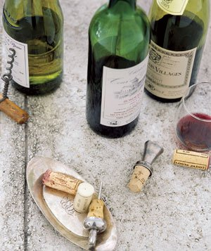 Uncorked wine bottles
