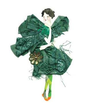 Illustration of model in green dress