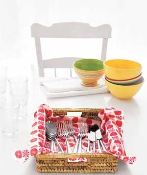 Tray with utensils and bowls