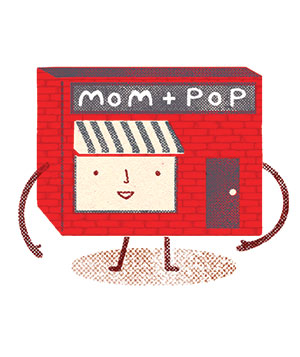 Illustration of Mom-Pop store character