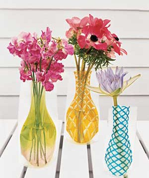 Flowers in three mini vases