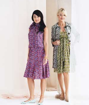 Women wearing evening mixed-print looks