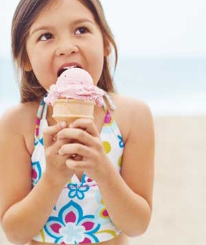 Child eating an ice cream cone