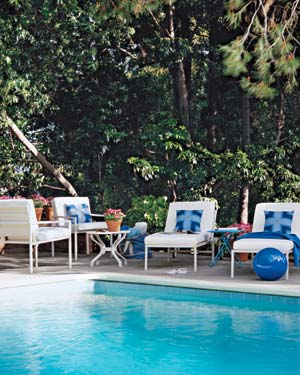 Swimming Pool Surrounded By Patio Furniture