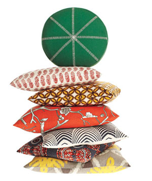 Stack of colorful throw pillows