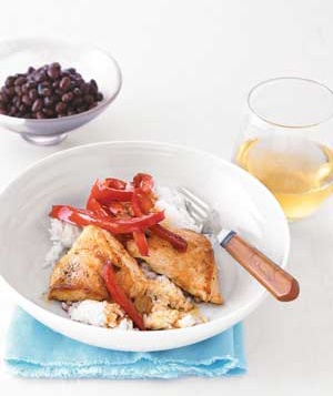 Sauteed Chicken and Peppers With Coconut Rice