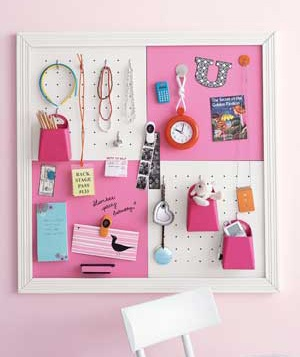 Pegboards organize a child's room