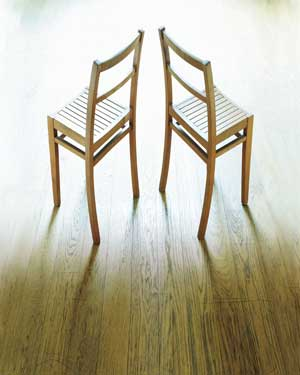 Chairs on wood floor