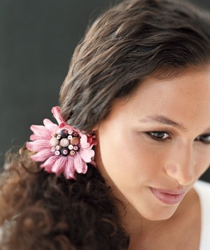 Pink flower ponytail holder