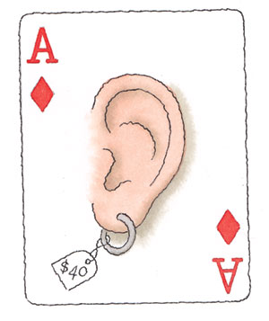 Illustration of a playing card with an ear and earring