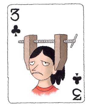 Illustration of a playing card with a woman with a headache