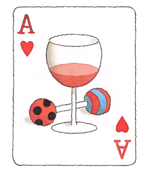 Illustration of a glass of wine and a baby rattle