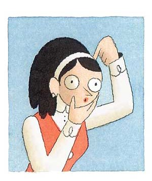 Cartoon woman scratching her head