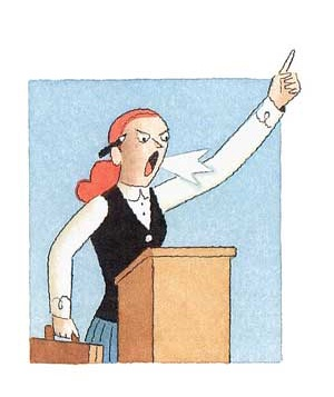Cartoon woman giving a sermon