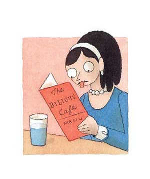 Cartoon woman reading a menu