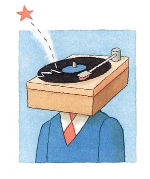 Cartoon man with a record player for a head