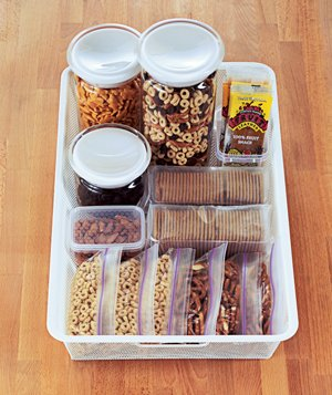 Snack container crackers