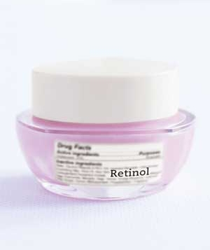 Bottle labeled retinol