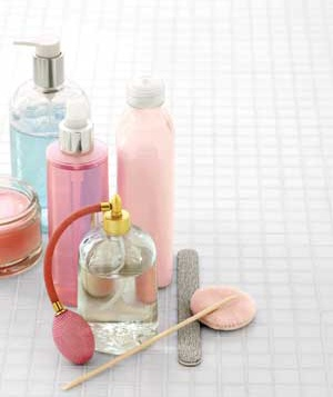 Bottles of perfume and beauty products