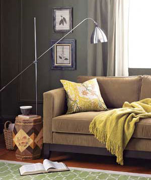 Reading lamp next to sofa