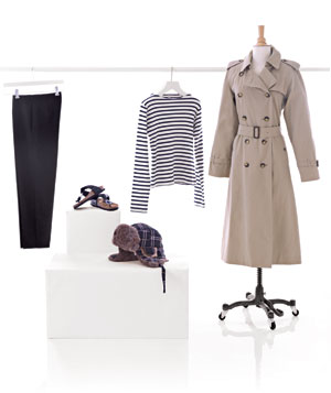Outfit with trench coat and accessories