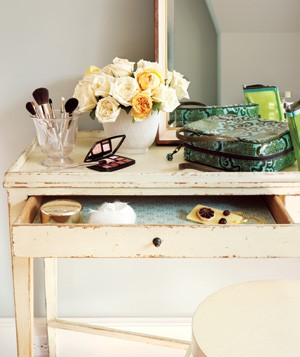 Desk used as a vanity table