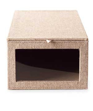 Container Store Tweed Drop-Front Shoe Box