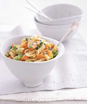 Multigrain Pasta with Sweet Potatoes and Leeks