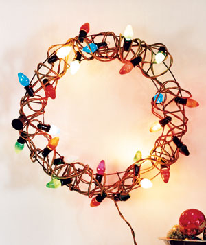 Colored light wreath mantelpiece