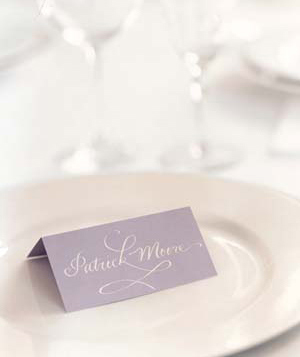 Place card on plate