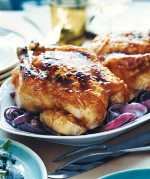 Orange-Coriander Roast Chicken With Red Onions