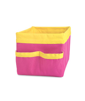 Pink and yellow wire basket
