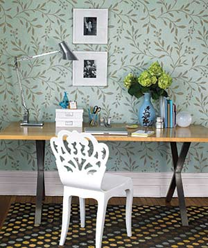 Joli Trail wallpaper in aqua by Thibaut