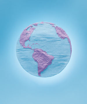 Paper construction of Earth (Earth Day) by Matthew Sporzynski